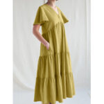 New              Women Solid Color V-neck Cotton Pleated Button Loose Casual Maxi Dress