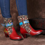 New              SOCOFY Retro Flower Pattern Stitching Genuine Leather Metal Buckle Zipper High Heel Mid Calf Boots