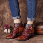 New              SOCOFY Women Casual Floral Splicing Pattern Warm Lined Zip Up Cone Heel Ankle Boot