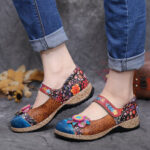 New              SOCOFY Retro Flower Splicing Floral Genuine Leather Hook Loop Flat Shoes