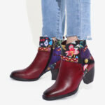 New              SOCOFY Ladies Floral Burgundy Buckle Deco Square Toe Warm Lined Zipper Ankle Boots