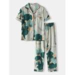 New              Plus Size Women Tropical Leaves Print Revere Collar Short Sleeve Elastic Waist Home PaJama Set