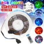 New              1M/3M/5M/10M/20M 3528SMD RGB LED Strip Light Non-waterproof Backlight TV Lamp DC12V + 44Keys Remote Control