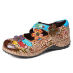 New              SOCOFY Retro Floral Genuine Leather Splicing Cross Strap Flowers Hook Loop Flat Shoes
