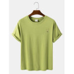 New              Mens Cotton Solid Color Breathable & Light Casual O-Neck T-Shirts