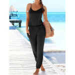 New              Solid Color Sleeveless Elastic Wasit Loose Casual Side Pocket Jumpsuits