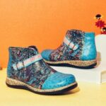 New              SOCOFY Folkways Pattern Genuine Leather Splicing Comfy Flat Ankle Boots