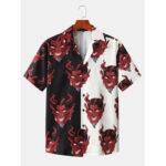 New              Mens Patchwork Devil Print Revere Collar Short Sleeve Designer Shirts