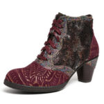 New              SOCOFY Retro Genuine Leather Splicing Embossed Rose Lace Up Zipper High Heel Ankle Boots