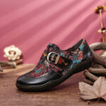New              SOCOFY Retro Flowers Embroidery Leather Embossed Plum Blossom Buckle Slip On Flat Shoes