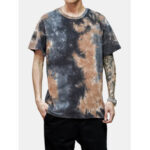 New              Tie-Dye Cotton Mens Short Sleeve Breathable T-Shirts