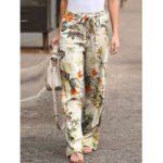 New              Women High Elastic Waist Floral Print Belted Side Pocket Vintage Pants
