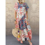 New              Women Retro O-neck Multicolor Floral Print Short Sleeve Loose Holiday Baggy Maxi Dress With Pocket