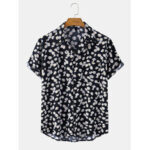 New              Mens Daisy Hearts Print Revere Collar Casual Short Sleeve Shirts With Pocket