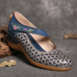 New              SOCOFY Retro Leather Floral Cutouts Round Toe Embossed Floral Hool Loop Wedges Pumps