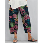 New              Women Floral Print Elastic Waist Daily Casual Pants with Side Pockets
