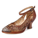 New              SOCOFY Retro Adjusatble Buckle Strap Hollow Pattern Embossed Pointed Leather Eleagant Pumps