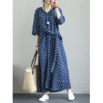 New              Vintage Floral Print V-neck Bandage 3/4 Sleeve Maxi Dress