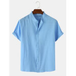 New              Mens Solid Color Cotton Linen Breathable Casual Short Sleeve Shirts