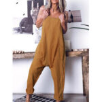 New              Women Casual Solid Color Cotton Sleeveless Harem Pants Jumpsuits with Side Pockets