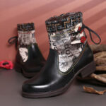 New              SOCOFY Retro Genuine Leather Splicing Woollen Colorful Stitching Soft flat Short Boots