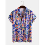 New              Mens Tropical Plant Leaf Print Light Casual Revere Collar Short Sleeve Shirts