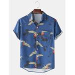 New              Mens Cotton Crane Print Turn Collar Short Sleeve Shirts