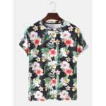 New              Men Tropical Floral Print Short Sleeve Holiday T-Shirt