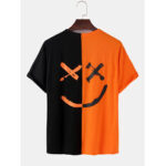 New              Mens Contrast Patchwork Happy Face Letter Print Cotton Loose Short Sleeve T-Shirts