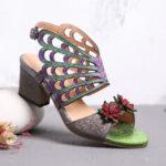 New              OCOFY Leather Flowers Cutouts Butterfly Wings Buckle Slingback Block Heel Sandals