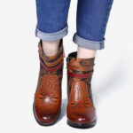 New              SOCOFY Pattern Brown Buckle Deco Stacked High Heel Round Toe Zipper Ankle Boots