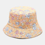 New              Women Double-sided Summer UV Protection Floral Pattern Casual Outdoor Sun Hat Bucket Hat