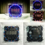 New              LED Rotating Electronic Temperature Display Digital Clock Learning Kit Box DIY