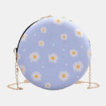New              Women Dotted Daisy Printed Chain Shoulder Bag