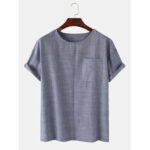 New              Mens Pinstripe Flax Casual Round Neck Short Sleeve T-Shirts With Pocket