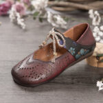 New              SOCOFY Retro Hollow Floral Soft Sole Knot Round Toe Ankle Strap Flat Shoes