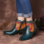 New              SOCOFY Simple Western Cowgirl Embossed Stitching Almond Toe Low Heel Boots
