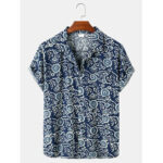 New              Mens Cotton Abstract Print Loose Casual Thin Short Sleeve Shirts