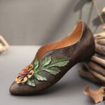 New              SOCOFY Retro Rainforest Splicing Floral Leaves Elegant Leather Comfy Flat Shoes