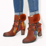 New              SOCOFY Women Color Block Double Buckle  Knitted Zipper Suede Brown Boots