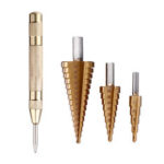New              Drillpro 4pcs 4-12/20/32mm HSS Titanium Step Cone Drill Bit with Automatic Center Punch