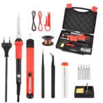 New              NEWACALOX 60W ESD Adjust Temp Soldering Iron Kit Welding Tool Set Solder Assist Set Repair Tools EU/US Plug