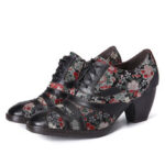 New              SOCOFY Retro Stitching Embroidery Flower Genuine Leather Zipper Low Heel Pumps