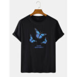New              Mens Butterfly Letter Print Cotton Round Neck Casual Short Sleeve T-Shirts