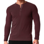 New              Men's V Neck Long Sleeve Button Tee Casual Slim Fit Comfortable Shirt Camping Hiking Travel