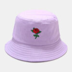 New              Women Summer UV Protection Floral Pattern Embroidery Casual Cute Sun Hat Bucket Hat