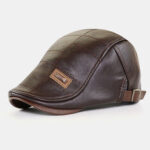 New              Men PU Leather Autumn Winter Solid Keep Warm Plus Velvet Fashion Leather Beret Hat