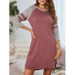 New              Plus Size Women Patchwork 3/4 Sleeve Round Neck Nightdress