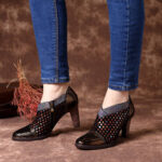 New              SOCOFY Comfy Genuine Leather Colorful Wave Dot Stitching Zipper High Heel Pumps