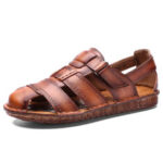 New              Men Cowhide Leather Hand Stitching Slip Resistant Outdoor Sandals